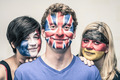 People with European flags on faces - PhotoDune Item for Sale