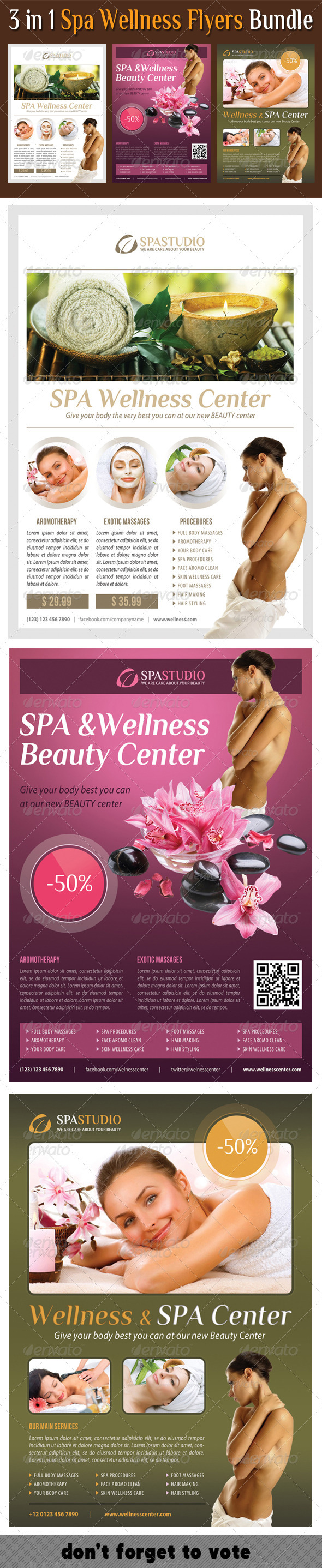 GraphicRiver 3 in 1 Spa Wellness Flyers Bundle 08 8230972