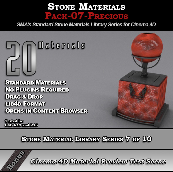 Standard Stone Material Pack-07-Precious for C4D - 3DOcean Item for Sale