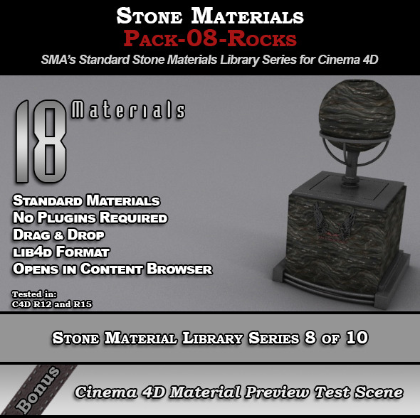 3DOcean Standard Stone Material Pack-08-Rocks for C4D 8230995