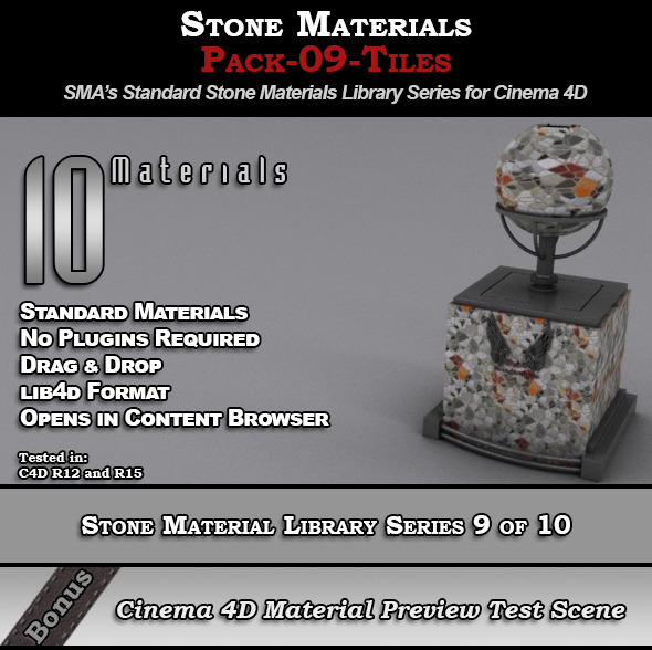 3DOcean Standard Stone Material Pack-09-Tiles for C4D 8231001