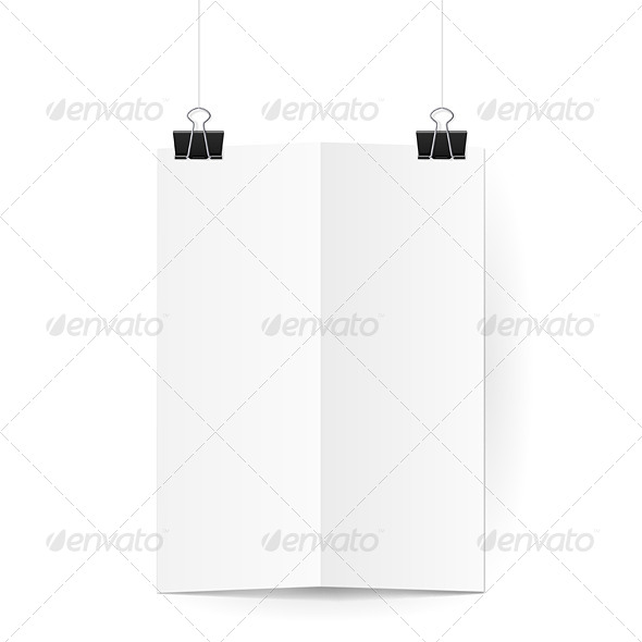 Sheet of Paper Folded in Two Hanging on Clips
