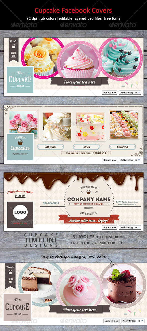 GraphicRiver Cupcake Facebook Covers 8231224