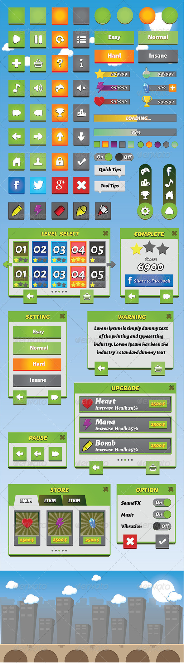 GraphicRiver Mobile Game GUI Volume 4 8231484