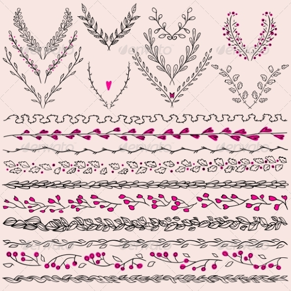 GraphicRiver Floral Design Elements and Lines Border 8231682