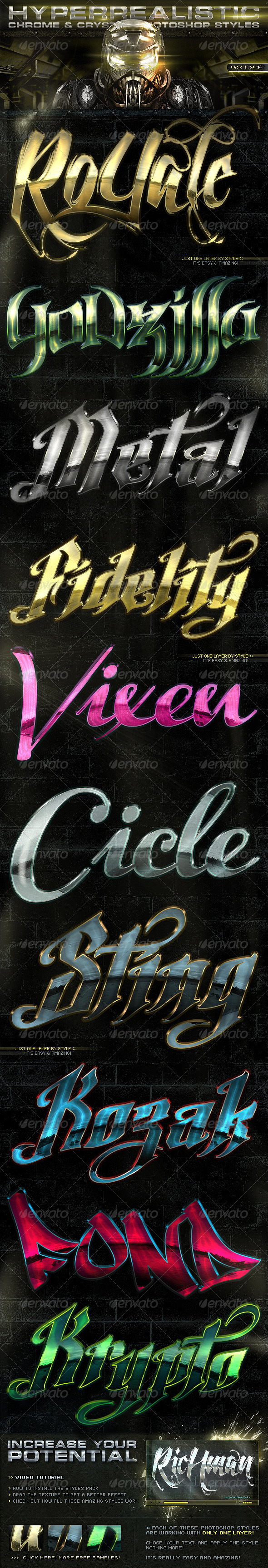 Chrome & Crystal Photoshop Styles 3of3 - Text Effects Styles