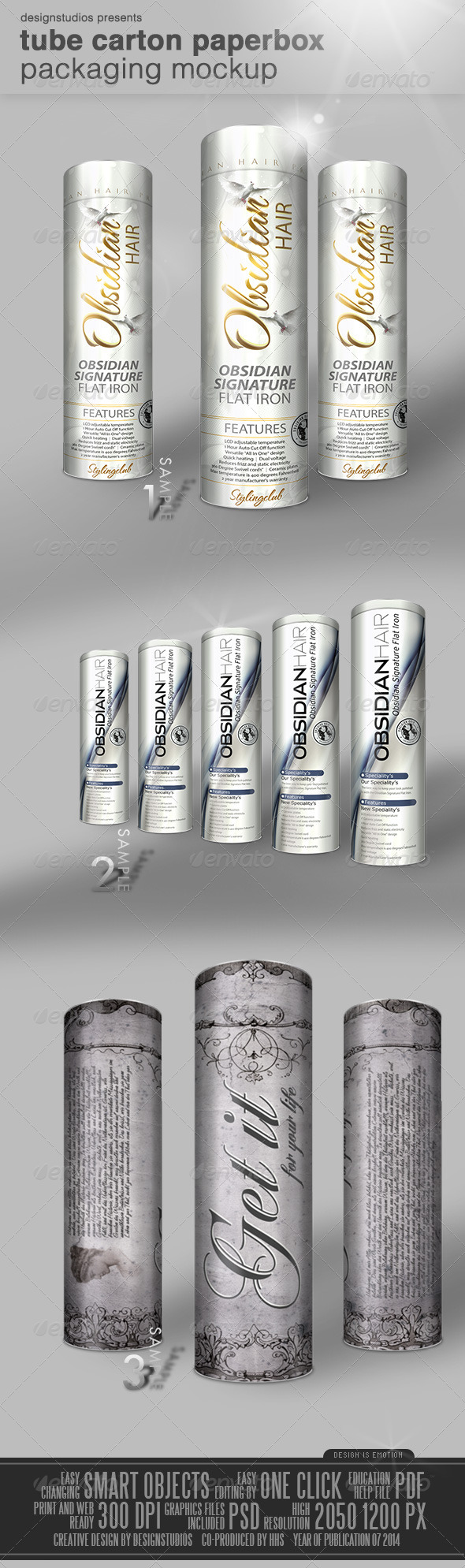 GraphicRiver Tube Carton Paperbox Packaging Mock-Up 8231918