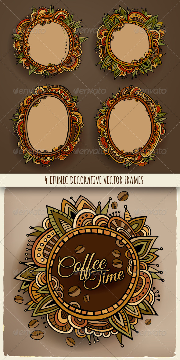 GraphicRiver 4 Ethnic Decorative Frames 8231923