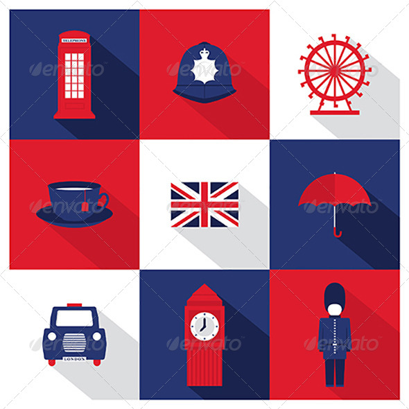 GraphicRiver Vector London City Flat Icons With Long Shadow 8182383