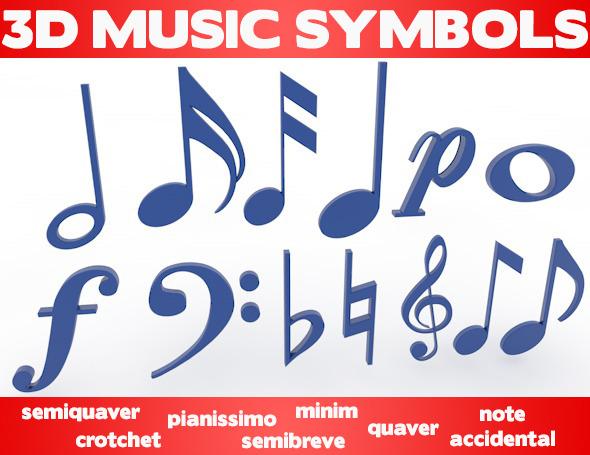 3DOcean 3D Music Symbols 8232027