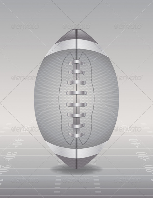 GraphicRiver Silver American Football and Field Illustration 8232160