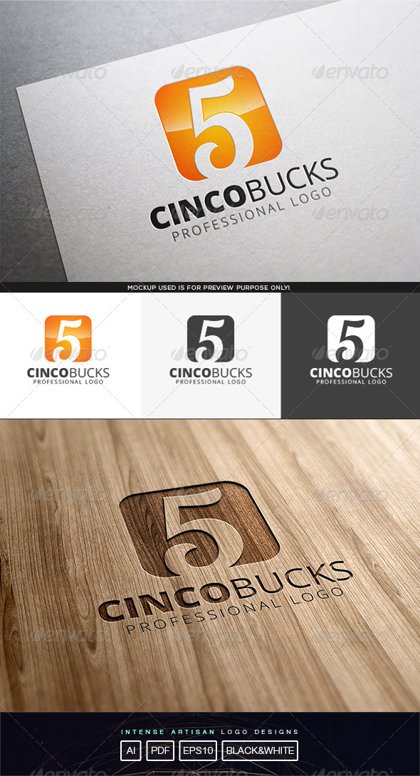 GraphicRiver Cinco Bucks Logo Template 8232168