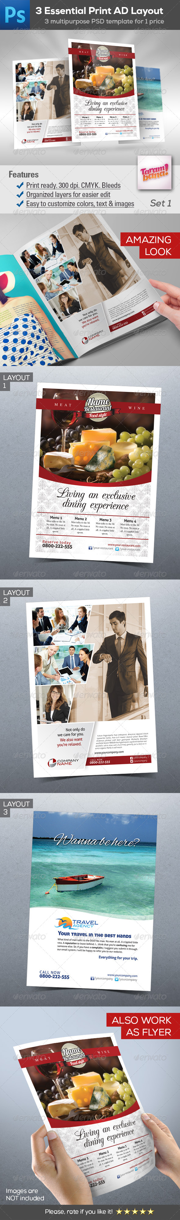GraphicRiver 3 in 1 Essential Print Ad Layout 8232434