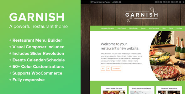 Garnish - A WordPress Theme for Restaurants - Restaurants & Cafes Entertainment