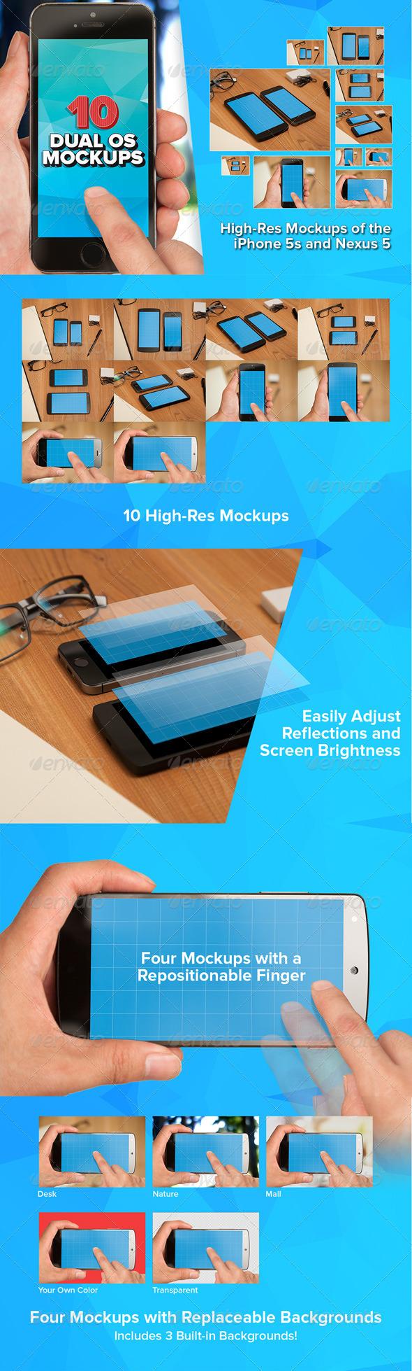 10 Smartphone Dual-OS Mockups - Mobile Displays