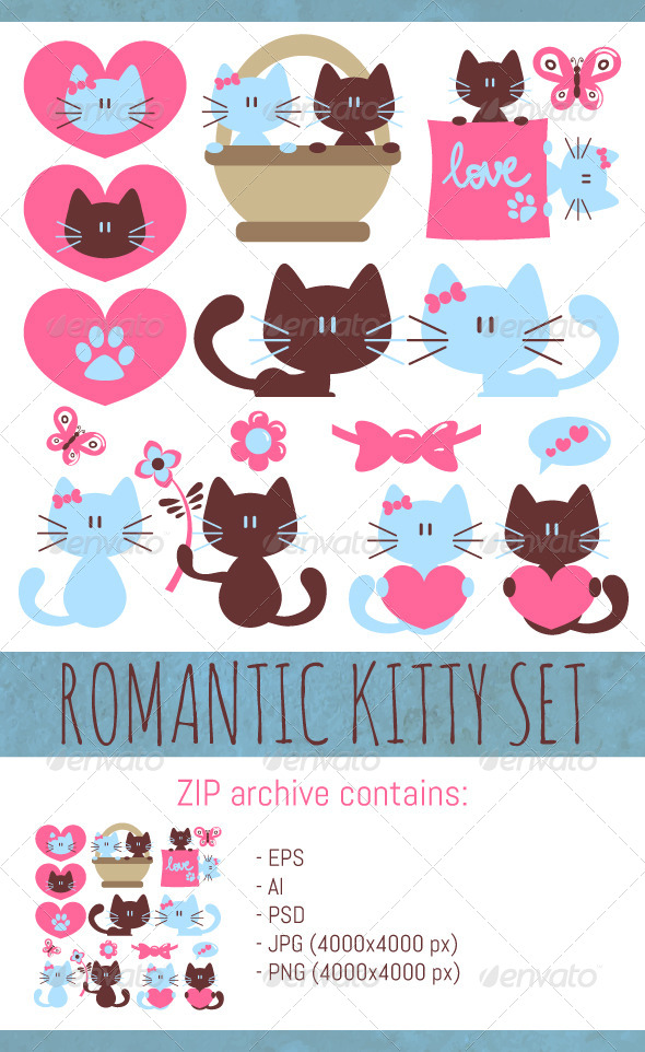 GraphicRiver Romantic Kitty Set 8234080