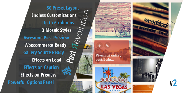 Post Revolution is a powerful wordpress plugin to create unlimited post grid layouts and post lightbox previews. You can choose between 30 amazing layouts alrea