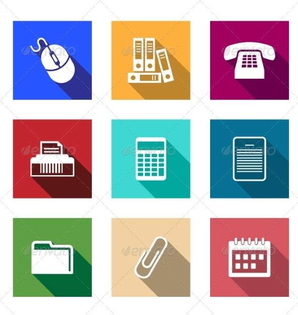 GraphicRiver Flat Office Supply Icons 8234153