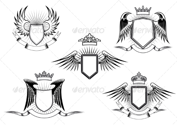 GraphicRiver Set of Heraldic Winged Shields 8234161