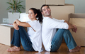 Delighted couple moving house