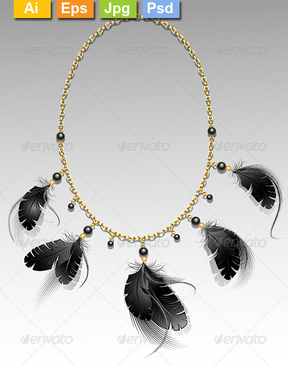GraphicRiver Jewelry with Black Feathers 8234323