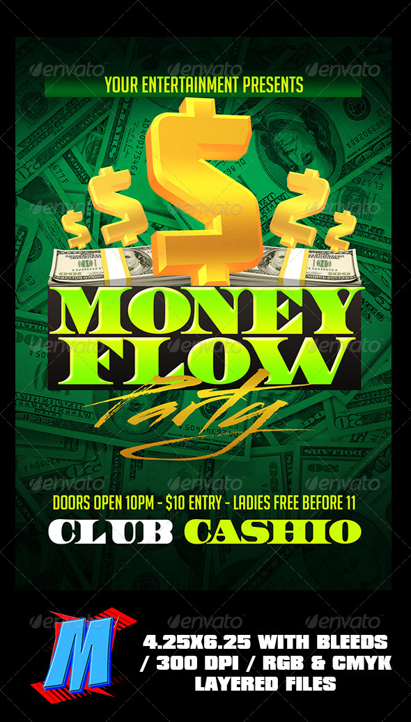 GraphicRiver Money Flow Party Flyer Template 8234357