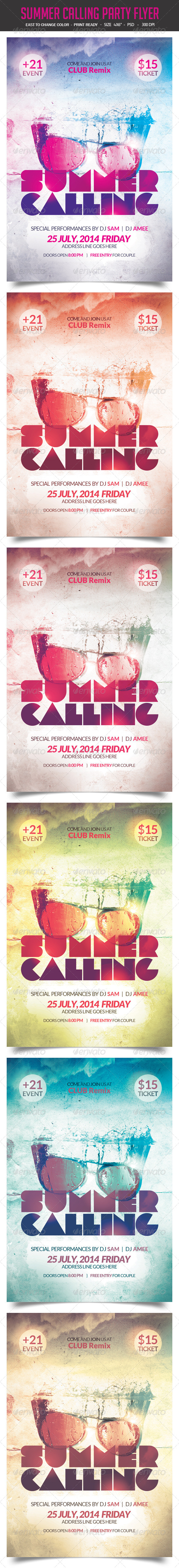 GraphicRiver Summer Calling Party Flyer 8234367
