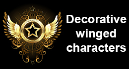 Decorative winged characters