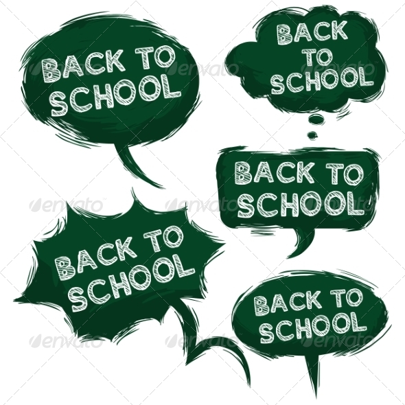 Vector Set of Grundge Green Bubbles Back to School
