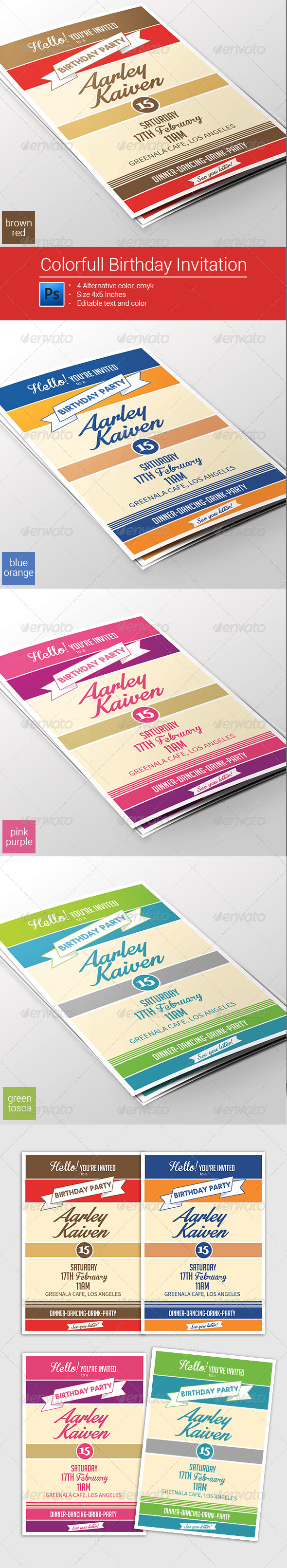 Colorfull Birthday Invitation