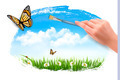 Nature background with butterflies and hand with brush.  - PhotoDune Item for Sale