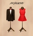 A suit and a retro formal dress on mannequins.  - PhotoDune Item for Sale