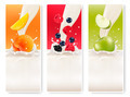 Three fruit and milk banners.  - PhotoDune Item for Sale
