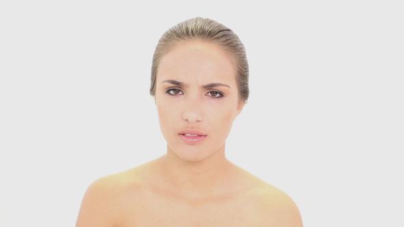 Beautiful Model Using Her Asthma Inhaler