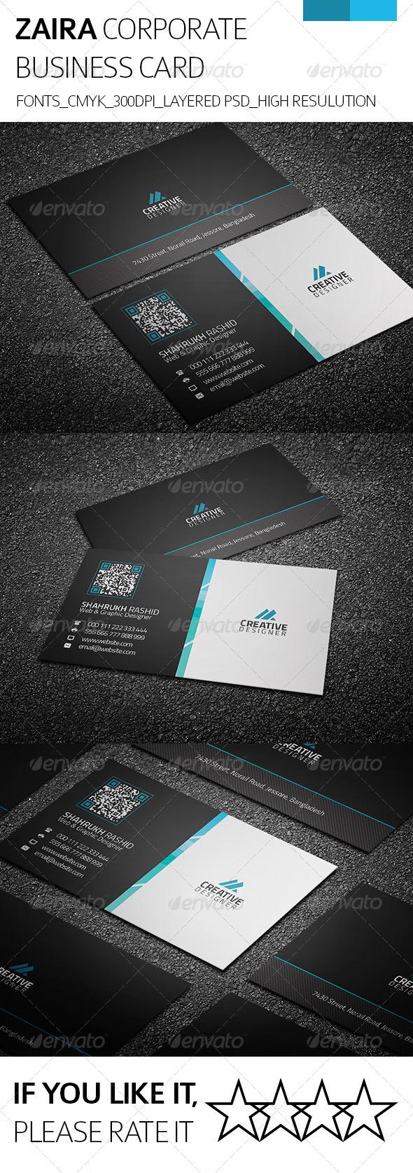 GraphicRiver Zaira & Corporate Business Card 8228390