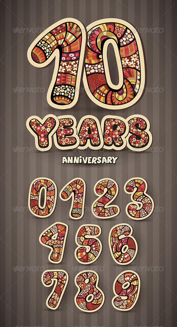 GraphicRiver Anniversary Card Design and Numbers Set 8238094