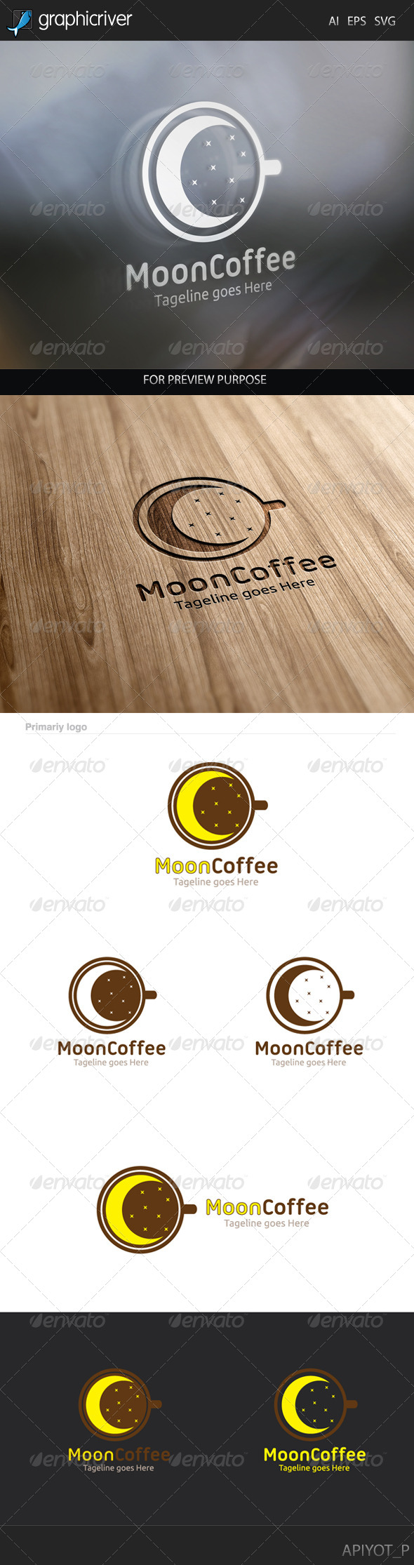 GraphicRiver Moon Coffee Logo 8238238