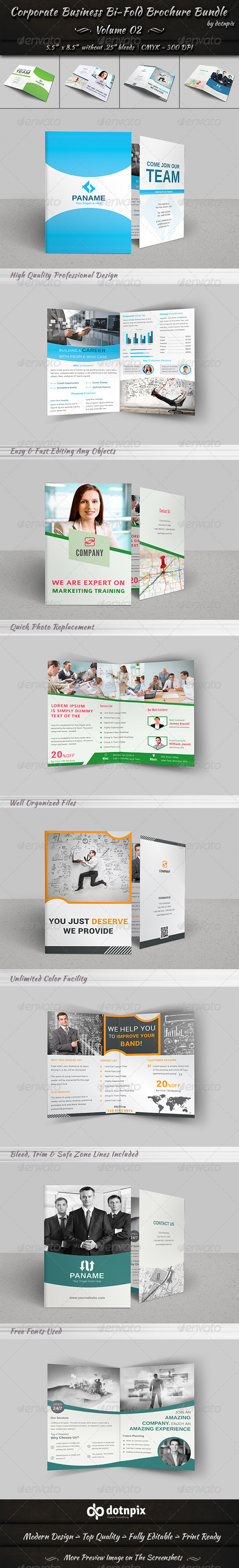 GraphicRiver Corporate Business Bi-Fold Brochure Bundle v2 8238445