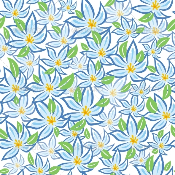 GraphicRiver Blue Flowers with Green Leafs 8238464