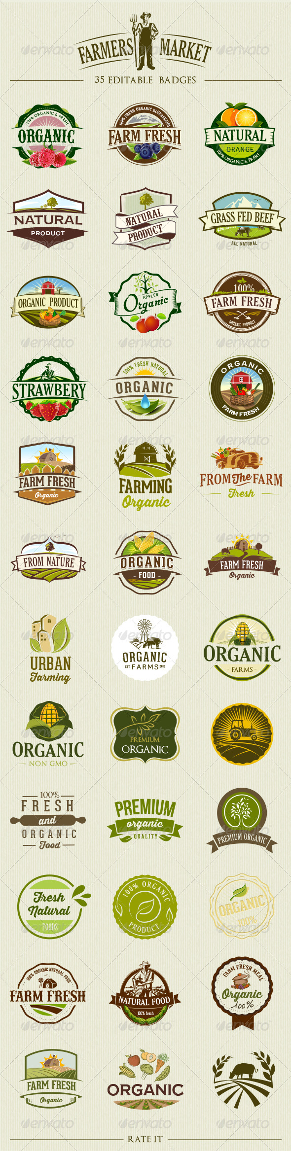 GraphicRiver 35 Organic Food Labels and Badges 8166879