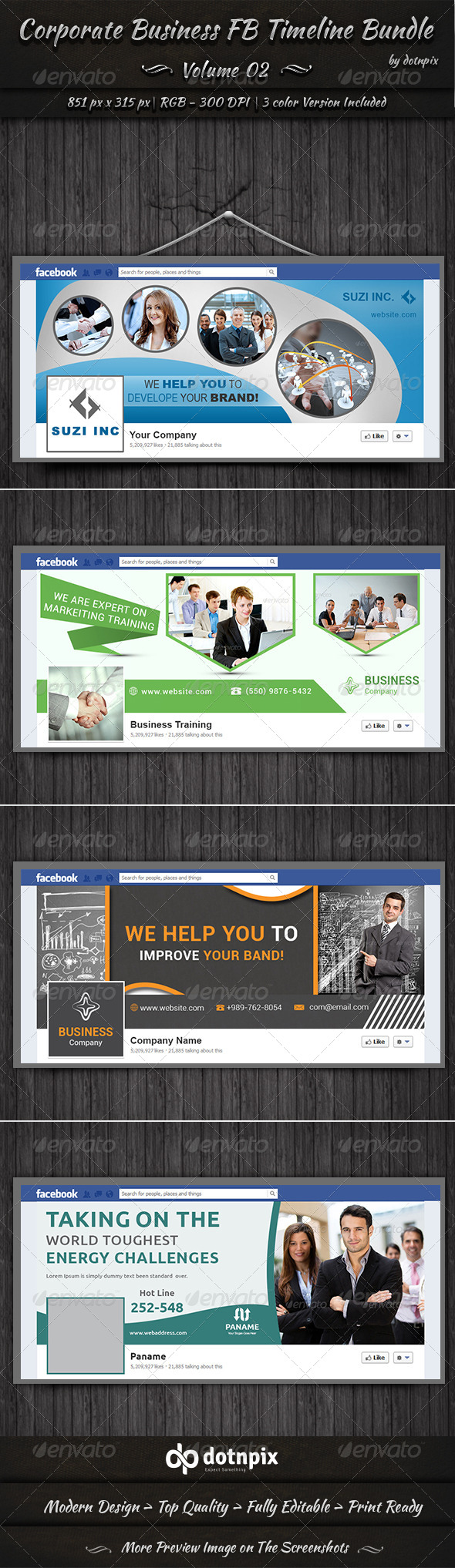 Corporate Business FB Timeline Bundle Volume 2