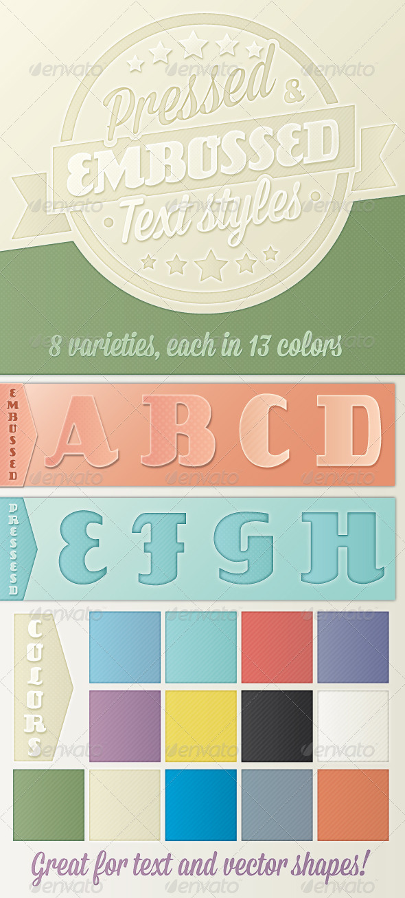GraphicRiver Pressed and Embossed Text Styles 8240625