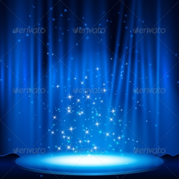 Blue Stage with Spotlight
