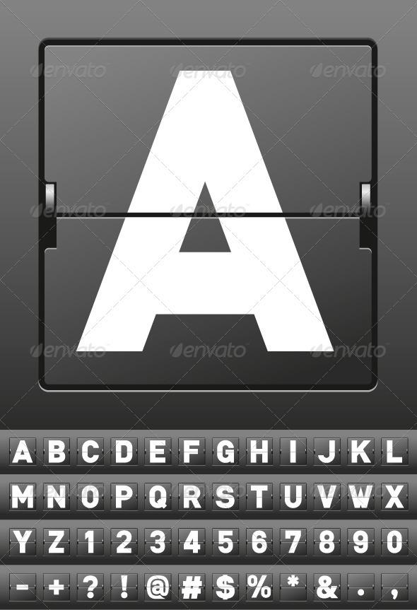 GraphicRiver Vector Mechanical Scoreboard Alphabet 843413