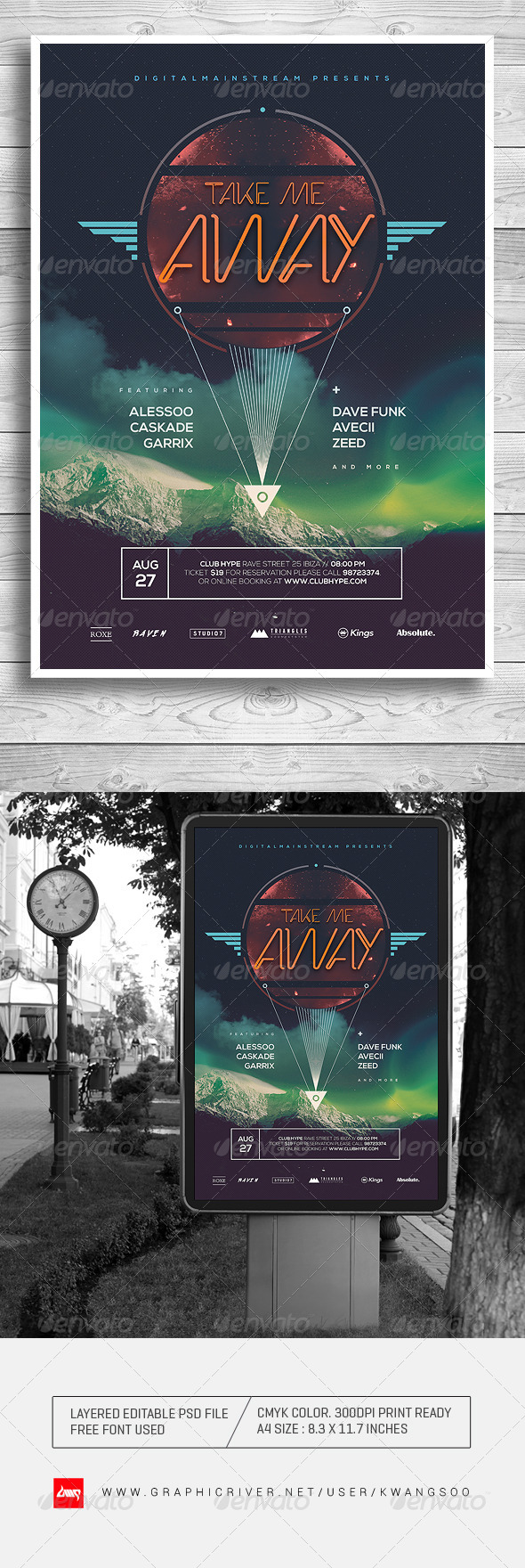 GraphicRiver Take Me Away Electro Music Poster Flyer 8240803