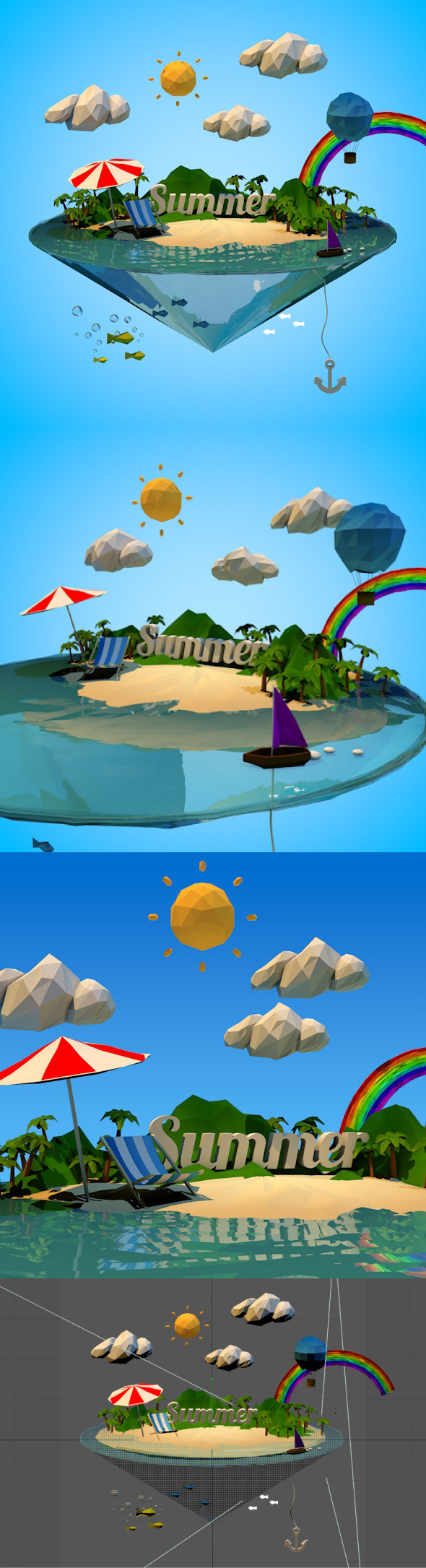 3DOcean Abstract summer vacation with Low-poly style 8241008