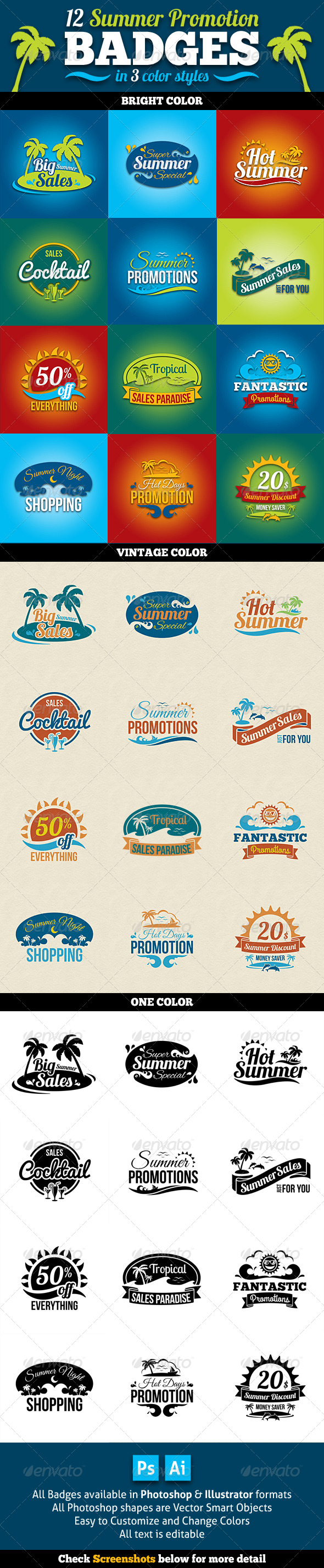 GraphicRiver Summer Promotion Badges 8241027