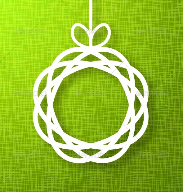 GraphicRiver Circle Paper Applique on Green Background 8241206