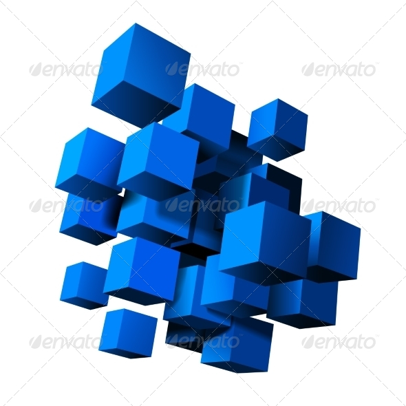 GraphicRiver Composition of Blue 3D Cubes 8241207