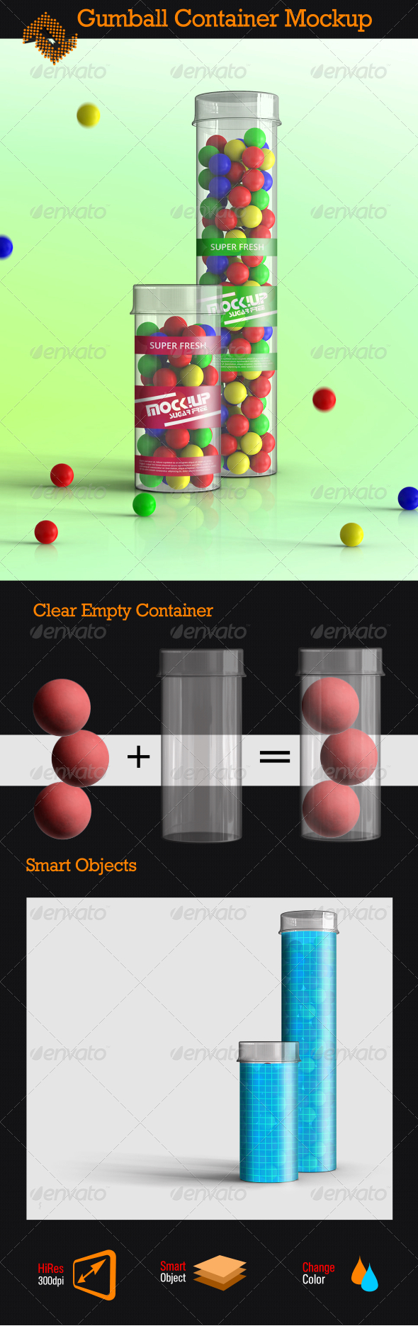 GraphicRiver Clear Gumball Container Mockup 8241382